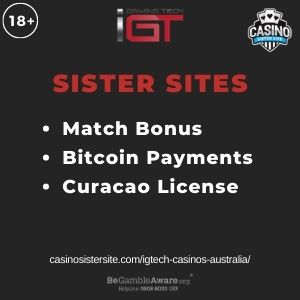"""Feature image for IGTech Casinos Australia with text """"Match Bonus. Bitcoin Payments. Curacao License"""