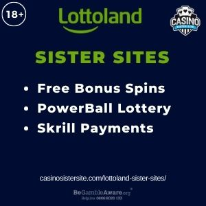 """Feature image for Lottoland Sister Sites article with text """"Free Bonus Spins. PowerBall Lottery. Skrill Payments."""""""