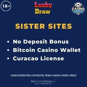 """Feature image for Lucky Draw Casino Sister Sites article with text """"No Deposit Bonus. Bitcoin Casino Wallet. Curacao License"""""""