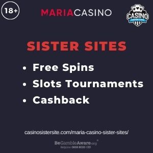"""Feature image for Maria Casino Sister Sites article with text """"Free Spins. Slots Tournaments. Cashback."""""""