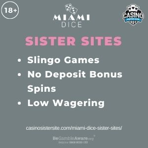 """Feature image for Miami Dice Sister Sites article with text """"Slingo Games. No Deposit Bonus Spins. Low Wagering."""""""