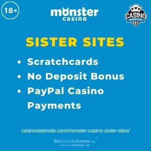 """Feature image for Monster Casino Sister Sites article with text """"Scratchcards. No Deposit Bonus. PayPal Casino Payments."""""""