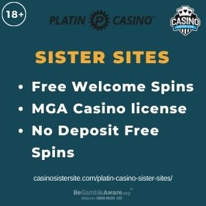 """Feature image for Platin Casino Sister Sites article with text """"Free Welcome Spins. MGA Casino License. No Deposit Free Spins."""""""