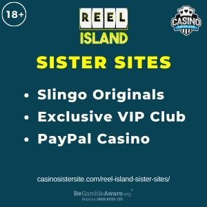 """Feature image for Reel Island Sister Sites article with text """"Slingo Originals. Exclusive VIP Club. PayPal Casino."""""""