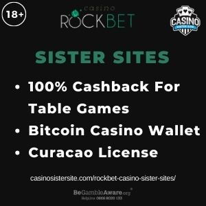 """Feature image for Rockbet Casino Sister Sites with text """"100% Cashback For Table Games. Bitcoin Casino Wallet. Curacao License."""""""