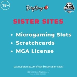 """Feature Image for Rosy Bingo Sister Sites article with text """"Microgaming Slots. Scratchcards. MGA License."""""""