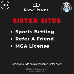 """Feature image for Royal Panda Sister Sites article with text """"Sports Betting. Refer A Friend. MGA License."""""""