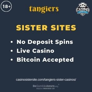 """Feature image for Tangiers Sister Casinos article with text """"No Deposit Spins. Live Casino. Bitcoin Accpeted"""""""