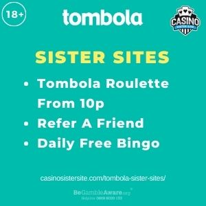 """Feature image for Tombola Sister Sites article with Tombola Roulette From 10p. Refer A Friend. Daily Free Bingo."""""""