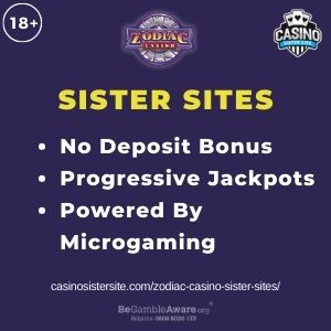"""Feature image for Zodiac Casino Sister Sites article with text """"No Deposit Bonus. Progressive Jackpots. Powered by Microgaming"""""""