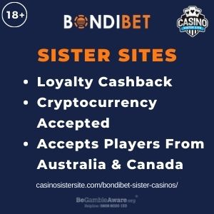 """Feature image for Bondibet Sister Casinos article with text """"Loyalty Cashback. Cryptocurrency Accepted. Accepts Players From Australia & Canada."""""""