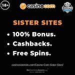 """Feature image for Casino.com Sister Sites article with text """"100% bonus. Cashbacks. Free Spins."""""""
