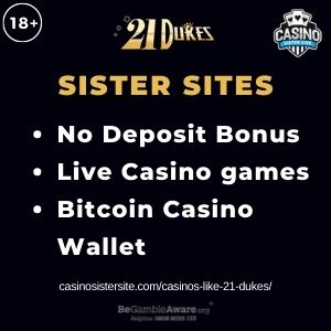 """Feature image for Casinos Like 21 Dukes article with text """"No Deposit Bonus. Live Casino Games. Bitcoin Casino Wallet."""""""