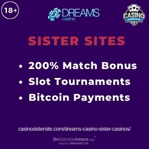 """Feature image for Dreams Casino Sister Casinos with text """"200% Match Bonus. Slot Tournaments. Bitcoin Payments."""""""