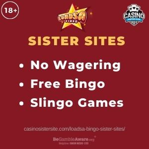 """Feature image for Loadsa Bingo Sister Sites article with text """"No Wagering. Free Bingo. Slingo Games."""""""