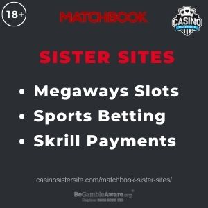 """Feature image for Matchbook Sister Sites article with text """"Megaways Slots. Sports Betting. Skrill Payments."""""""