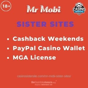 """Feature image for Mr Mobi Sister Sites article with text """"Cashback Weekends. PayPal Casino Wallet. MGA License."""""""
