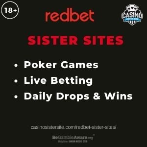 """Feature image for RedBet Sister Sites article with text """"Poker Games. Live Betting. Daily Drops. & Wins."""