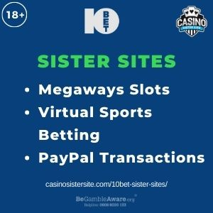 """Feature image for 10Bet Sister Sites article with text: """"Megaways Slots. Virtual Sports Betting. PayPal Transactions """""""