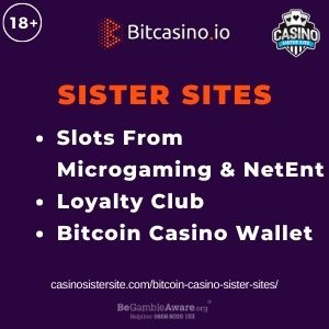 """Feature image for Bitcoin Casino Sister Sites with text: """"Slots From Microgaming & NetEnt. Loyalty Club. Bitcoin Casino Wallet"""""""