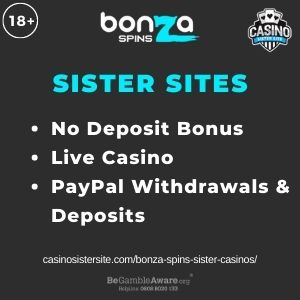 """Feature image for Bonza Spins Sister Casinos with text """"No Deposit Bonus. Live Casino. PayPal Withdrawals & Deposits"""""""
