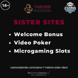 """Feature image for Casino 7 Melons Sister Sites article with text: """"Welcome Bonus. Video Poker. Microgaming Slots"""""""