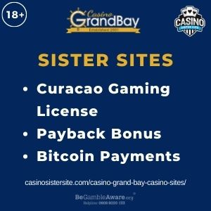 """Feature image for Casino Grand Bay Casino Sites articlewith text: """"Curacao Gaming License. Payback Bonus. Bitcoin Payments """""""