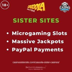 """Feature image for Casoola Sister Casinos article with text: """"Microgaming Slots. Massive Jackpots. PayPal Payments """""""