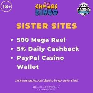 """Feature Image for Cheers Bingo Sister Sites with text """"500 Mega Reel. 5% Daily Cashback. PayPal Casino Wallet."""""""