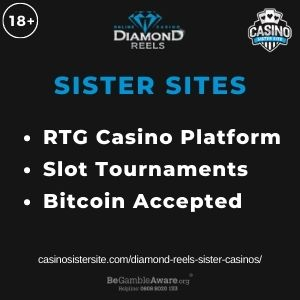 """Feature image for Diamond Reels Sister Casinos article with text: """"RTG Casino Platform. Slot Tournaments. Bitcoin Accepted """""""