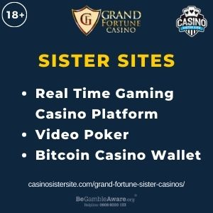 """Feature image for Grand Fortune Sister Casinos article with text: """"Real Time Gaming Casino Platform. Video Poker. Bitcoin Casino Wallet """""""