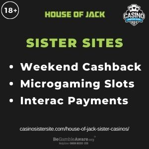 """Feature image for House of Jack Sister Casinos article with text: """"Weekend Cashback. Microgaming Slots. Interac Payments """""""