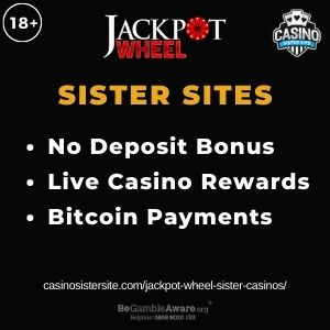 """Feature image for Jackpot Wheel Sister Casinos with text: """"No Deposit Bonus. Live Casino Rewards. Bitcoin Payments."""""""
