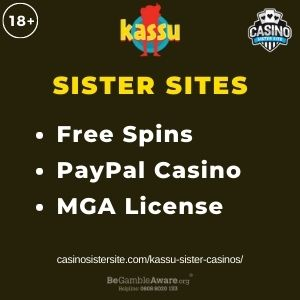 """Feature image for Kassu Sister Casinos article with text: """"Free Spins. PayPal Casino. MGA License """""""