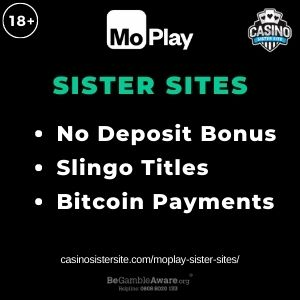"""Feature image for MoPlay Sister Sites article with text: """"No Deposit Bonus. Slingo Titles. Bitcoin Payments"""""""