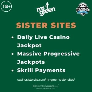 """Feature image for Mr Green Sister Sites article with text: """"Daily Live Casino Jackpot. Massive Progressive Jackpots. Skrill Payments """""""