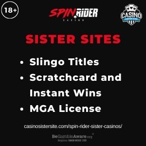 """Feature image for Spin Rider Sister Casinos article with text: """"Slingo Titles. Scratchcard and Instant Wins. MGA License"""""""