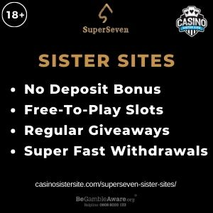 """Feature image for SuperSeven Sister Sites article with text, """"No Deposit Bonus. Free-To-Play Slots. Regular Giveaways. Super Fast Withdrawals"""""""