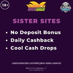"""Feature image for Wild Joker Sister Casinos article with text: """"No Deposit Bonus. Daily Cashback. Cool Cash Drops"""""""