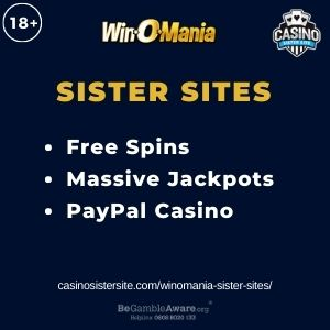 """Feature image for Wonomia Sister Sites article with text """"Free Spins. Massive Jackpots. PayPal Casino."""""""