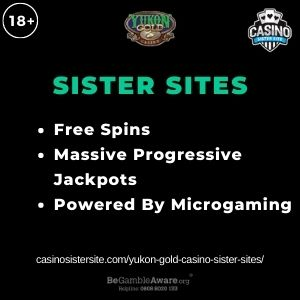 """Feature image for Yukon Gold Casino Sister Sites article with text: """"Free Spins. Massive Progressive Jackpots. Powered By Microgaming """""""