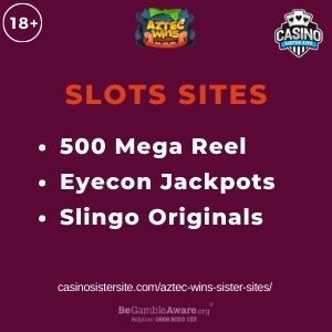 """Feature image for Aztec Wins Sister Sites article with text """"500 Mega Reel. Eyecon Jackpots. Slingo Originals"""""""