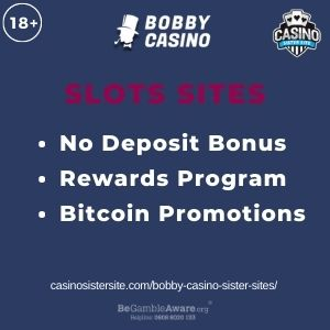 """Feature image for Bobby Casino Sister Sites article with text """"No Deposit Bonus. Rewards Program. Bitcoin Promotions."""""""