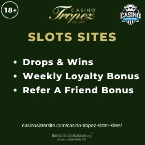 """Feature image for Casino Tropez Sister Sites article with text """"Drops & Wins. Weekly Loyalty Bonus. Refer A Friend Bonus."""""""