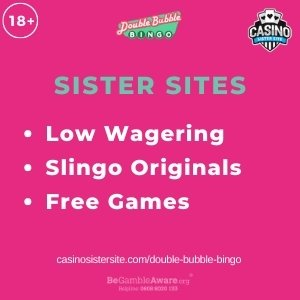 """Feature image for Double Bubble Bingo Sister Sites article with title, """"Low Wagering. Slingo Originals. Free Games"""""""