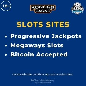 """Feature image for Konung Casino Sister Sites article with text """"Progressive Jackpots. Megaways Slots. Bitcoin Accepted"""""""