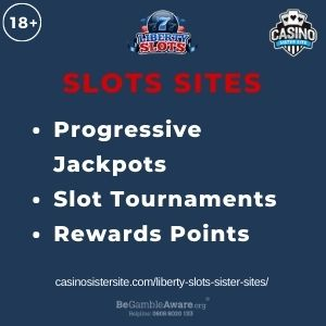 """Feature image for Liberty Slots Sister Sites article with text """"Progressive Jackpots. Slot Tournaments. Rewards Points."""""""