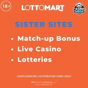 """Feature Image for Lottomart Sister Sites article with text """"Match-up Bonus. Live Casino. Lotteries."""""""