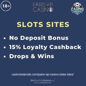 "Feature image for Paris VIP Casino Sister Sites article with text ""No Deposit Bonus. 15% Loyalty Cashback. Drops & Wins."""