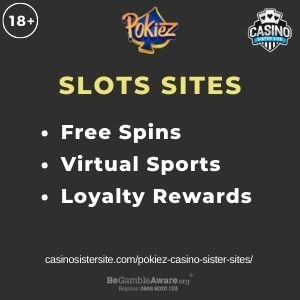 """Feature image for Pokiez Casino Sister Sites article with text """"Free Spins. Virtual Sports. Loyalty Rewards."""""""